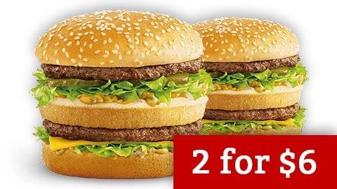 2 X Mcclassic Burgers $6 @ Maccas