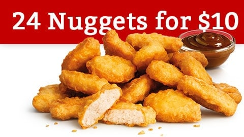 24 Nuggets For $10 Mcdonalds Deal February 2018