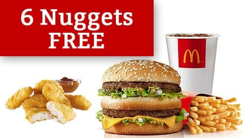 6 Free Nuggets Deal Mcdonald's Australia February 2018