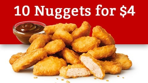 10 Nuggets For $4 @ Maccas