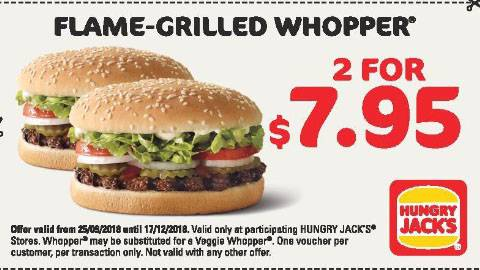 Hungry Jack's 2 X Flamed Grilled Whoppers For $7.95 Deal