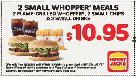 Hungry Jack's 2 X Small Whopper Meals Promotion 17 Dec 18