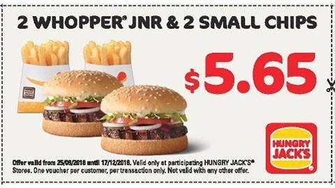 Hungry Jack's 2 X Whipper Jnr And 2 X Small Chips For $5.65