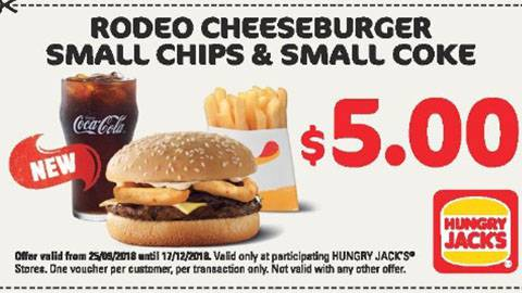 Hungry Jack's Rodeo Cheeseburger Meal Deal For $5.00