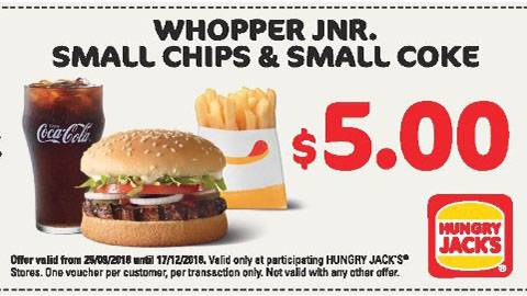 Hungry Jack's Whopper Jnr Meal Deal For $5.00