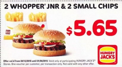 2 Whopper Jnr, 2 Small Chips $5.65 Hungry Jack's Voucher Expires 1 April 2019