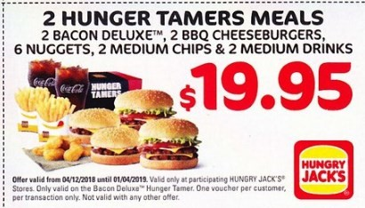 Huger Tamer Meal 2 For $19.95 Hungry Jack's Voucher Expires 1 April 2019