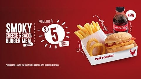 Smoky Cheese & Bacon Burger Meal For $5 At Red Rooster
