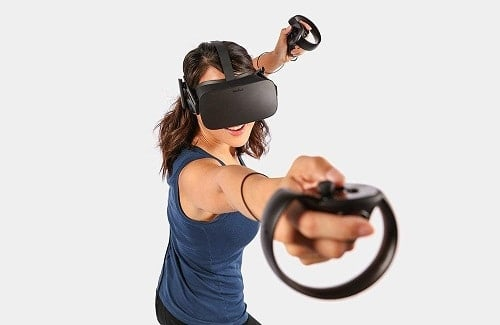Woman Enjoying The Oculus Rift Gaming Vr Headset