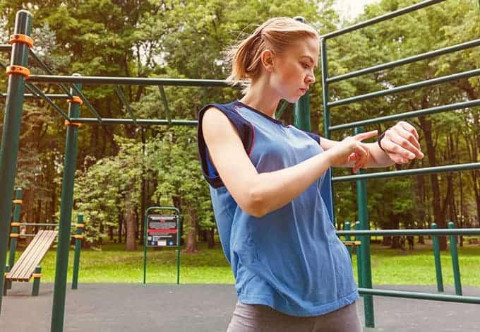 Woman Wearing Fitbit Fitness Tracker