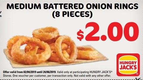 $2 Medium Battered Onion Rings Hungry Jacks Voucher