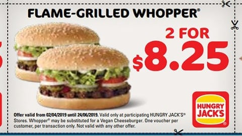 2 For $8.25 Flame Grilled Whopper Hungry Jacks Vouchers