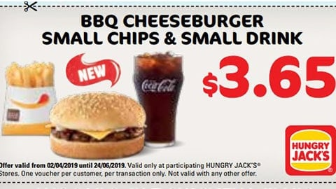 $3.65 Bbq Cheeseburger Small Chips & Drink Hungry Jacks Vouchers