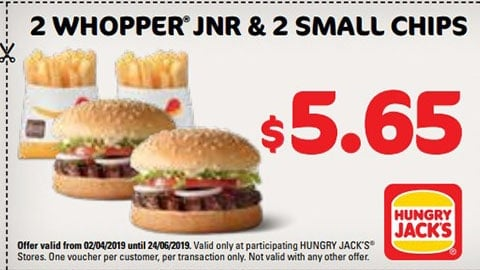 $5.65 For 2 Whopper Jnr. & 2 Small Chips Hungry Jacks Vouchers